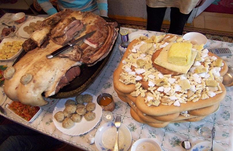 Food on the table for tsagaan sar