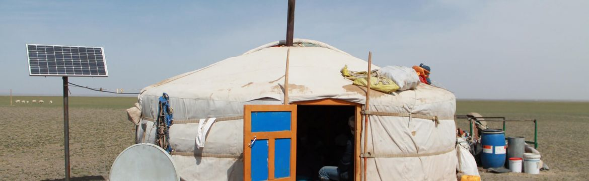 mongolian nomad ger with solar panel and tv dish